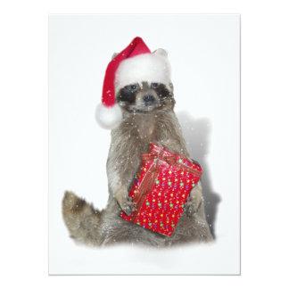 Christmas Santa Raccoon Bandit Custom Invitation
