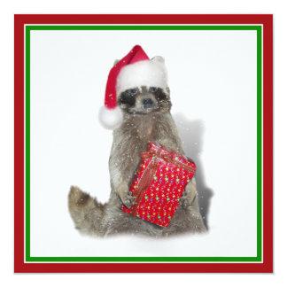 Christmas Santa Raccoon Bandit Invite