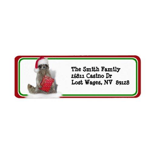 Christmas Santa Raccoon Bandit Return Address Label