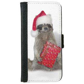 Christmas Santa Raccoon Bandit iPhone 6 Wallet Case