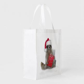 Christmas Santa Raccoon Bandit Reusable Grocery Bag