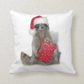 Christmas Santa Raccoon Bandit Throw Pillow
