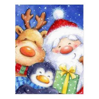 Christmas Santa Reindeer and Penguin Postcard