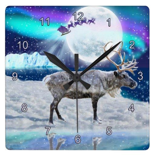 Christmas Santa & Reindeer Fantasy Art Gift Square Wall Clocks