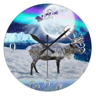 Christmas Santa & Reindeer Fantasy Art Gift Large Clock