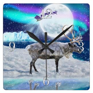 Christmas Santa & Reindeer Fantasy Art Gift Square Wall Clock