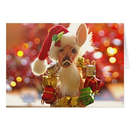 Christmas santa reindeer greeting card zazzle for Funny reindeer christmas cards