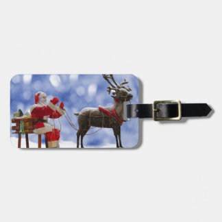 Christmas Santa Reindeer Sledging Snow Luggage Tag