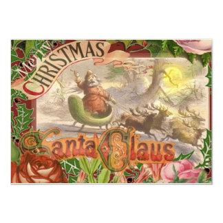 Christmas Santa Reindeer Sleigh Vintage Card