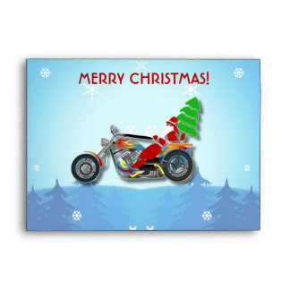 Christmas Santa Riding Chopper Bike With Red Hat Envelope