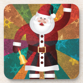 Christmas Santa Ringing Bell on Rays Background Drink Coaster