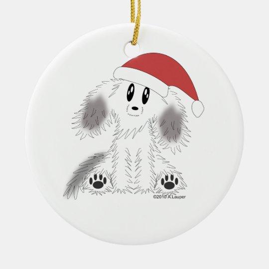 Christmas Santa Scruffy Puppy Dog Ornament