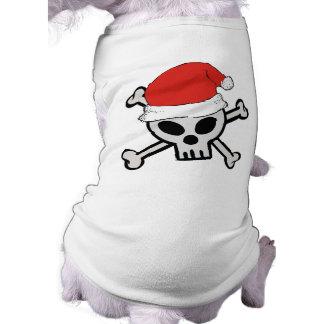 Christmas Santa Skull Dog Tshirt