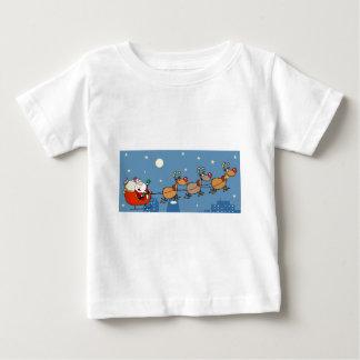 Christmas-Santa-Sleigh-And-Reindeer Baby T-Shirt