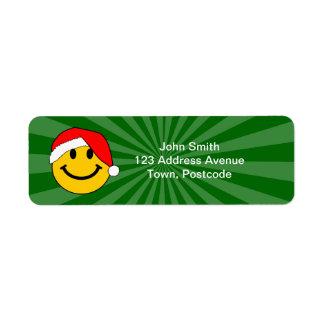Christmas Santa Smiley Face Return Address Label