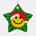Christmas Santa Smiley Face Double-Sided Star Ceramic Christmas Ornament