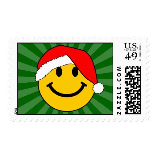 Christmas Santa Smiley Face Postage