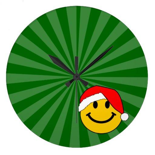 Christmas Santa Smiley Face Round Wallclock