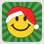 Christmas Santa Smiley Face Square Sticker
