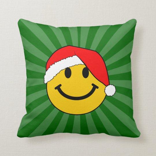 Christmas Santa Smiley Face Throw Pillow