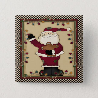 Christmas Santa Square Button