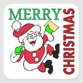 Christmas Santa Square Stickers