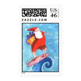 Christmas Santa Surf postage stamp stamp