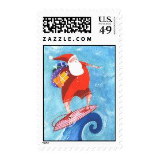 Christmas Santa Surfing postage stamp