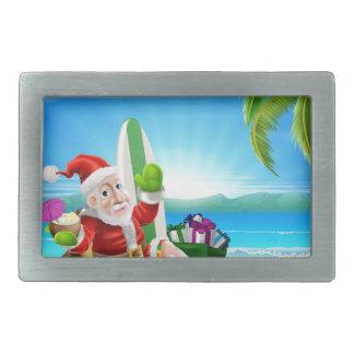 Christmas Santa Tropical Beach Scene Rectangular Belt Buckle