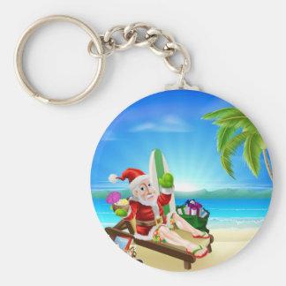 Christmas Santa Tropical Beach Scene Key Chains