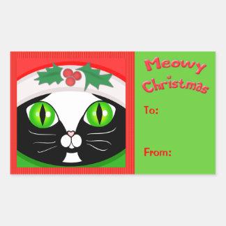 Christmas Santa Tux Cat Greeting Gift Sticker Tags