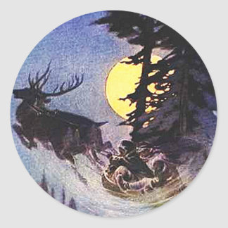 Christmas Santa Two Reindeer Forest Gift Wrap Round Sticker