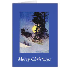 Christmas Santa Two Reindeer Sleigh Forest Card at Zazzle