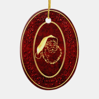Christmas Santa with Gold Accents Ceramic Ornament