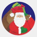 Christmas Santa with presents round sticker