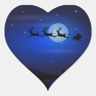 Christmas Santa with Reindeer Heart Sticker