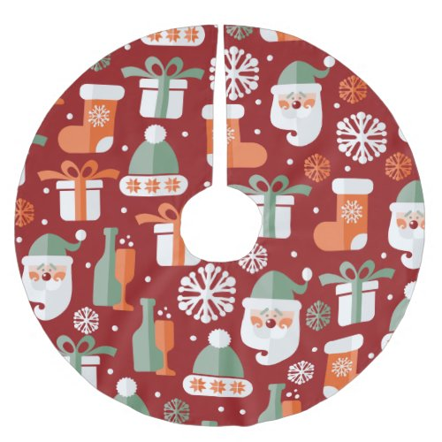 Christmas Santa's Gifts Pattern Brushed Polyester Tree Skirt