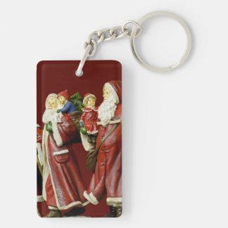 Christmas Santas Saint Nick Holiday Gifts Double-Sided Rectangular Acrylic Keychain