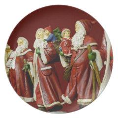 Christmas Santas Saint Nick Holiday Gifts Dinner Plate