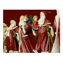 Christmas Santas Saint Nick Holiday Gifts Postcard