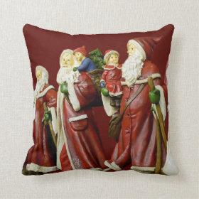 Christmas Santas Saint Nick Holiday Pillow
