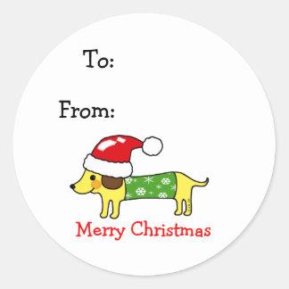 Christmas sausage dog gift tags round sticker