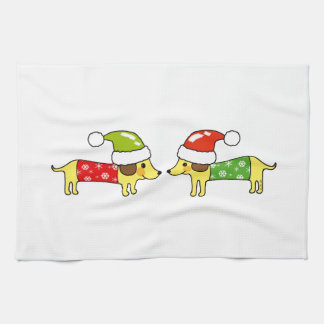 Christmas sausage dogs kitchen towels