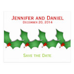 Christmas Save the Date Announcements Holly Post Card