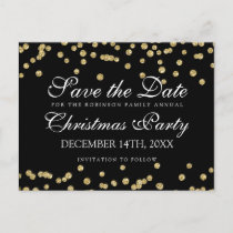 Christmas Save The Date Gold Glitter Confetti Blac Announcement Postcard