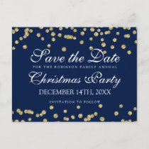 Christmas Save The Date Gold Glitter Confetti Navy Announcement Postcard