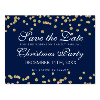 Christmas Save The Date Gold Glitter Confetti Navy Postcard
