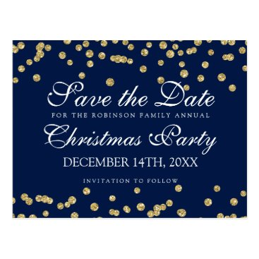 Christmas Themed Christmas Save The Date Gold Glitter Confetti Navy Postcard
