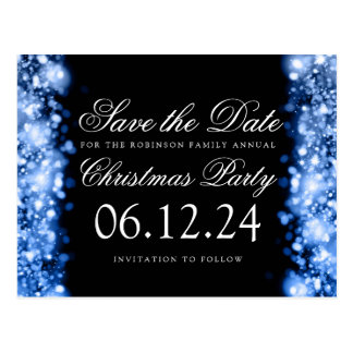 Christmas Save The Date Sparkling Lights Blue Postcard
