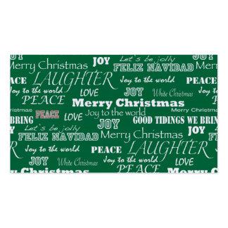 Christmas Sayings Typography Business Card